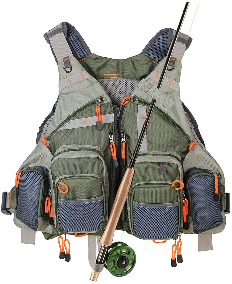 HYOUT Adjustable Fly Fishing Vest Safety Life Outdoor Jacket with Muti-Pockets for Men and Women